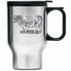 Cow Stainless Steel Travel Mug with Handle and Pewter Accent