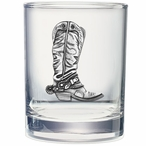 Cowboy Boot Pewter Accent Double Old Fashion Glasses, Set of 2