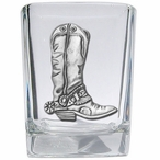 Cowboy Boot Pewter Accent Shot Glasses, Set of 4