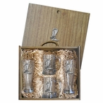 Cowboy Boot Pilsner Glasses & Beer Mugs Box Set with Pewter Accents