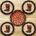 Cowboy Boots Braided Jute Coasters and Basket Holder, Set of 10
