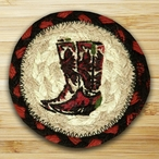 Cowboy Boots Braided Jute Coasters, Set of 8