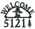 Cowboy Head Metal Address Welcome Sign