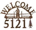 Cowboy Metal Address Welcome Sign