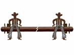 Burnished Cowboy Metal Curtain Rod Holders