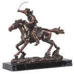 Cowboy on Horse with Lasso Statue - Bronze Finish