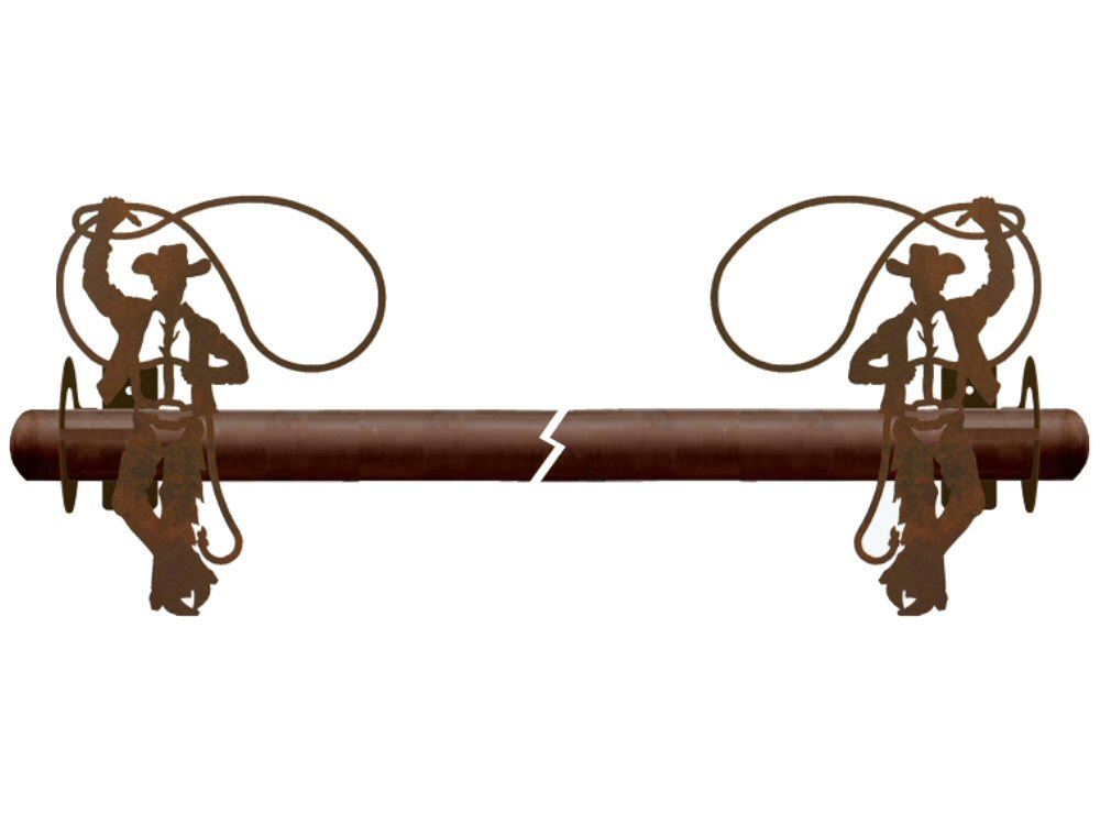 Cowboy Roping Metal Curtain Rod Holders Rustic Curtain Accessories