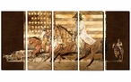 Cowboy Up America with Horses Wrapped Canvas Giclee Wall Art, Set of 5