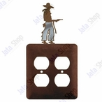 Cowboy with Pistol Double Metal Outlet Cover