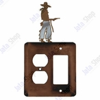 Cowboy with Pistol Double Metal Outlet Cover with Single Rocker