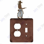 Cowboy with Pistol Double Metal Outlet Cover with Single Toggle