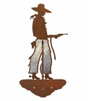 Burnished Cowboy with Pistol Double Metal Wall Hook