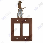 Cowboy with Pistol Double Rocker Metal Switch Plate Cover