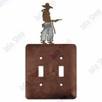 Cowboy with Pistol Double Toggle Metal Switch Plate Cover