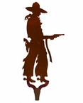 Cowboy with Pistol Large Single Metal Wall Hook