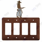 Cowboy with Pistol Quad Rocker Metal Switch Plate Cover