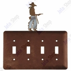 Cowboy with Pistol Quad Toggle Metal Switch Plate Cover