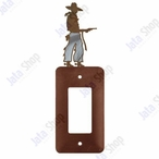 Cowboy with Pistol Single Rocker Metal Switch Plate Cover