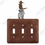Cowboy with Pistol Triple Toggle Metal Switch Plate Cover
