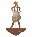 Burnished Cowgirl Double Metal Wall Hook