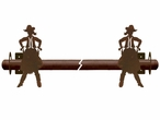 Cowgirl Drawing Pistol Metal Curtain Rod Holders
