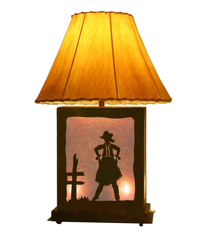 Cowgirl Scenic Metal Table Lamp with Night Light - Western Style Lighting