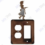 Cowgirl with Pistol Double Metal Outlet Cover with Single Rocker