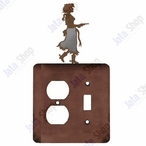 Cowgirl with Pistol Double Metal Outlet Cover with Single Toggle