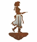 Burnished Cowgirl with Pistol Double Metal Wall Hook
