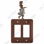 Cowgirl with Pistol Double Rocker Metal Switch Plate Cover