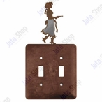 Cowgirl with Pistol Double Toggle Metal Switch Plate Cover