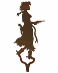 Cowgirl with Pistol Large Single Metal Wall Hook