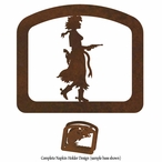 Cowgirl with Pistol Metal Napkin Holder
