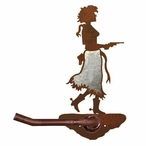 Burnished Cowgirl with Pistol Metal Toilet Paper Holder