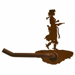 Cowgirl with Pistol Metal Toilet Paper Holder