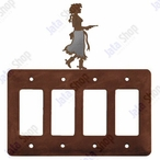Cowgirl with Pistol Quad Rocker Metal Switch Plate Cover