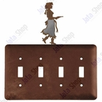 Cowgirl with Pistol Quad Toggle Metal Switch Plate Cover