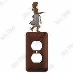 Cowgirl with Pistol Single Metal Outlet Cover