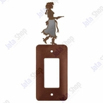 Cowgirl with Pistol Single Rocker Metal Switch Plate Cover