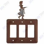 Cowgirl with Pistol Triple Rocker Metal Switch Plate Cover