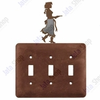 Cowgirl with Pistol Triple Toggle Metal Switch Plate Cover