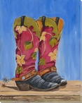 Cowgirl Work Boots Wrapped Canvas Giclee Print Wall Art