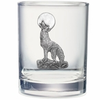 Coyote Pewter Accent Double Old Fashion Glasses, Set of 2