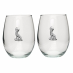 Coyote Pewter Accent Stemless Wine Glass Goblets, Set of 2