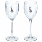 Coyote Pewter Accent Wine Glass Goblets, Set of 2