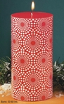 Cranberry with Snowflake Design Pillar Candles, Set of 4