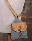 Crossbody City Stonewashed Canvas & Soft Leather Tote Bag with Rivets