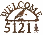Crow Bird Metal Address Welcome Sign