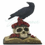 Crow Bird Perching on Skull w/ Roses on an Open Book Fantasy Sculpture