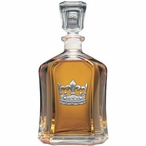 Crown Capitol Glass Decanter with Pewter Accents